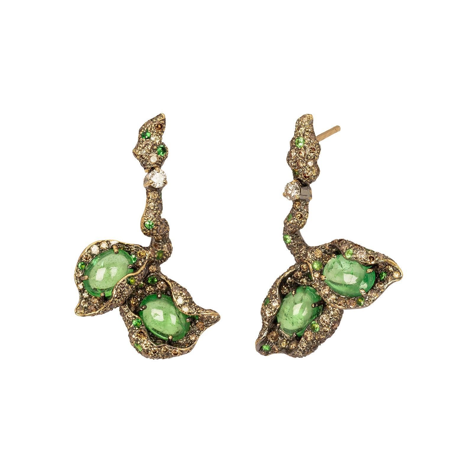 Arunashi Branch Earrings - Tsavorite - Earrings - Broken English Jewelry