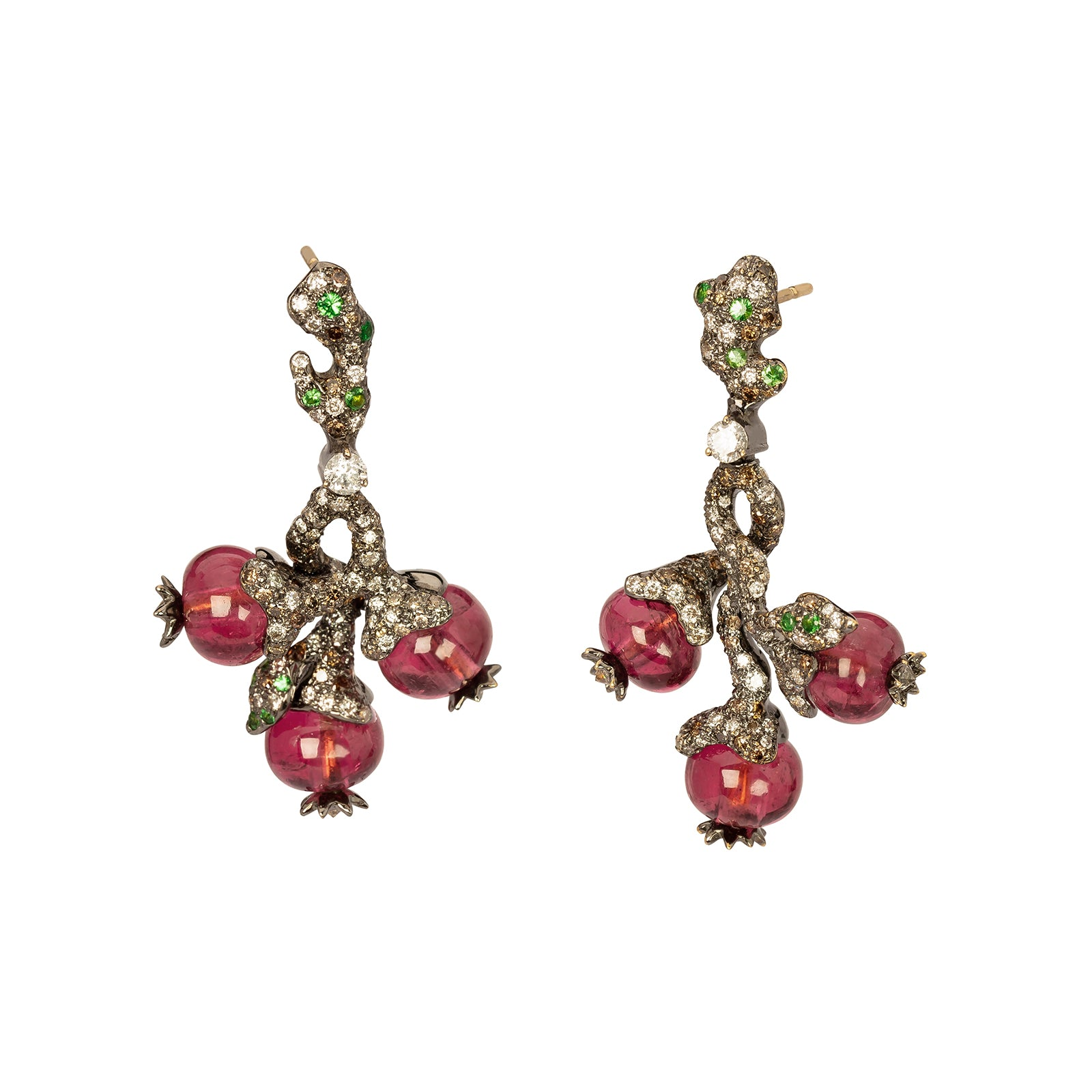 Arunashi Bead Fruit Earrings - Rubellite - Earrings - Broken English Jewelry