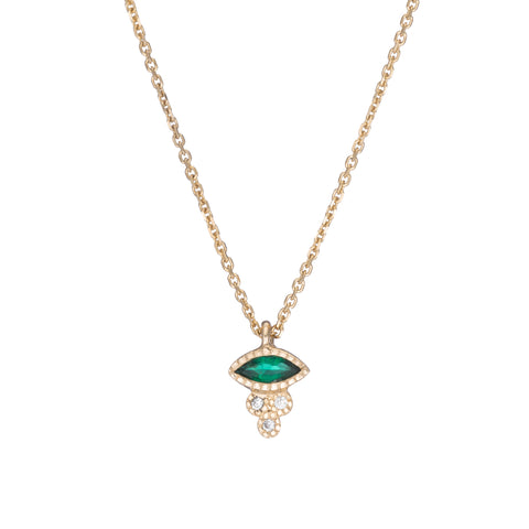 Marquise Emerald Crown Necklace - Jennie Kwon - Necklaces | Broken English Jewelry
