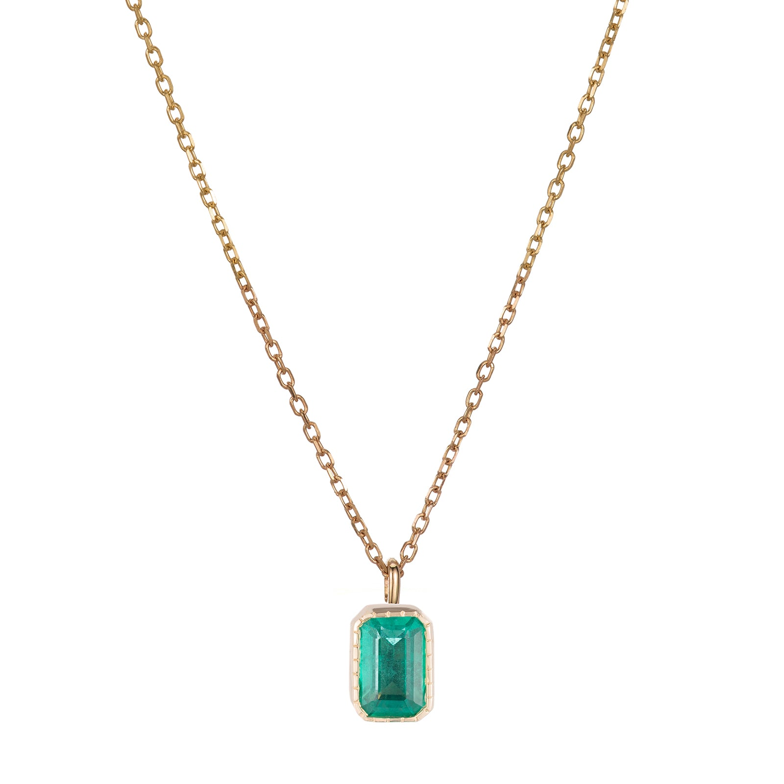 Jennie Kwon Emerald Cut Wisp Necklace - Emerald - Necklaces - Broken English Jewelry