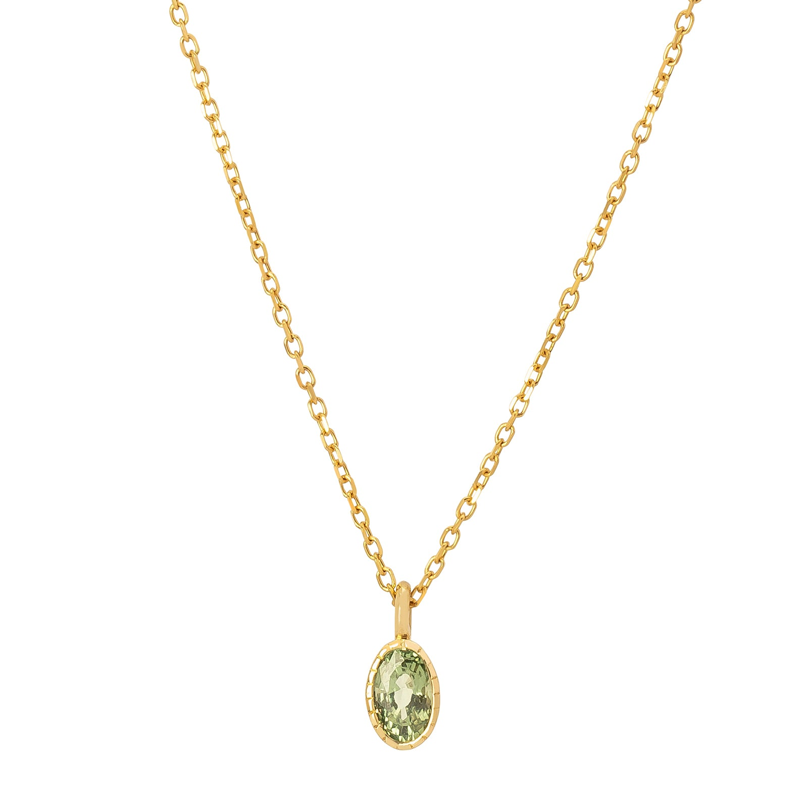 Jennie Kwon Oval Wisp Necklace - Green Sapphire - Necklaces - Broken English Jewelry