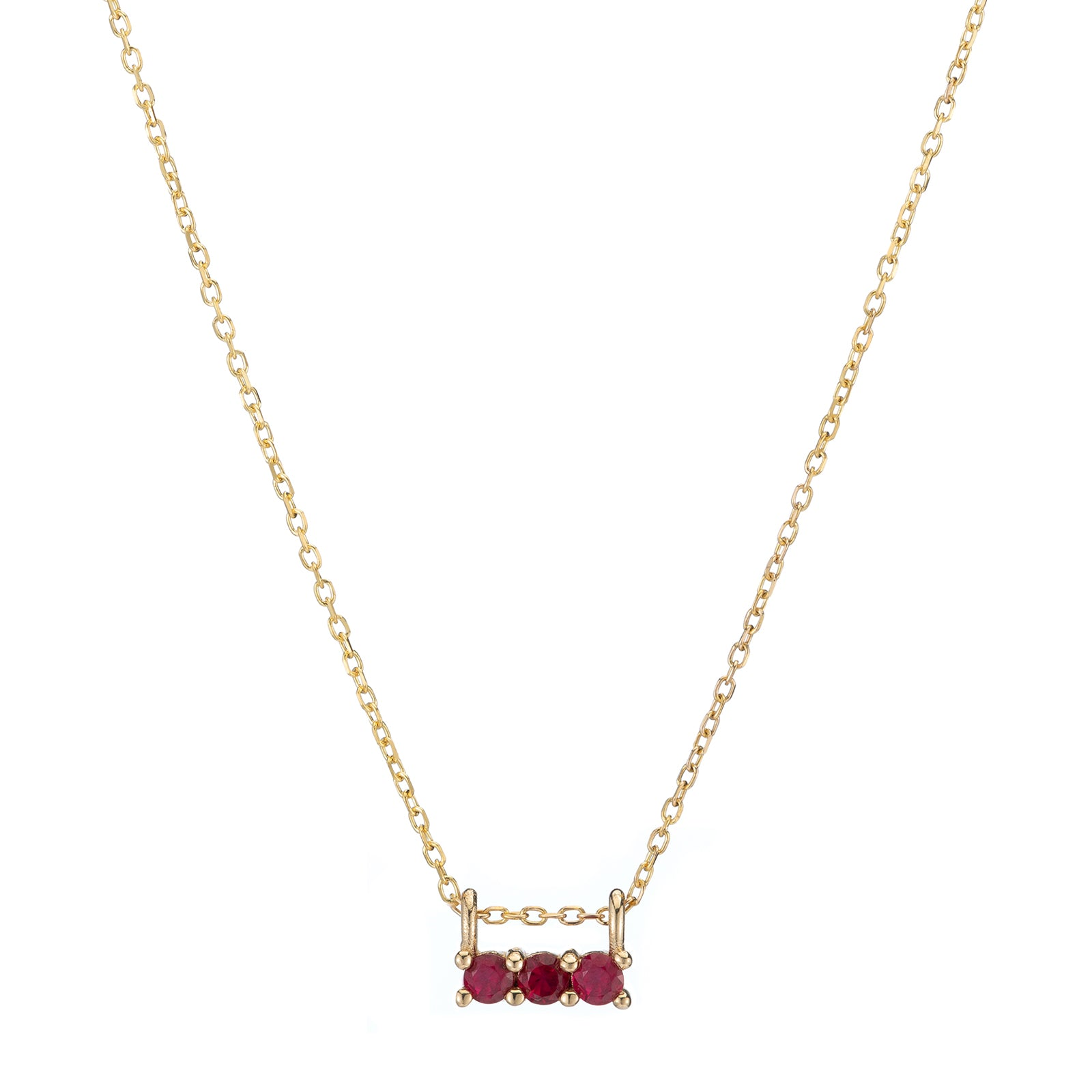 Jennie Kwon Three Stone Necklace - Ruby - Necklaces - Broken English Jewelry