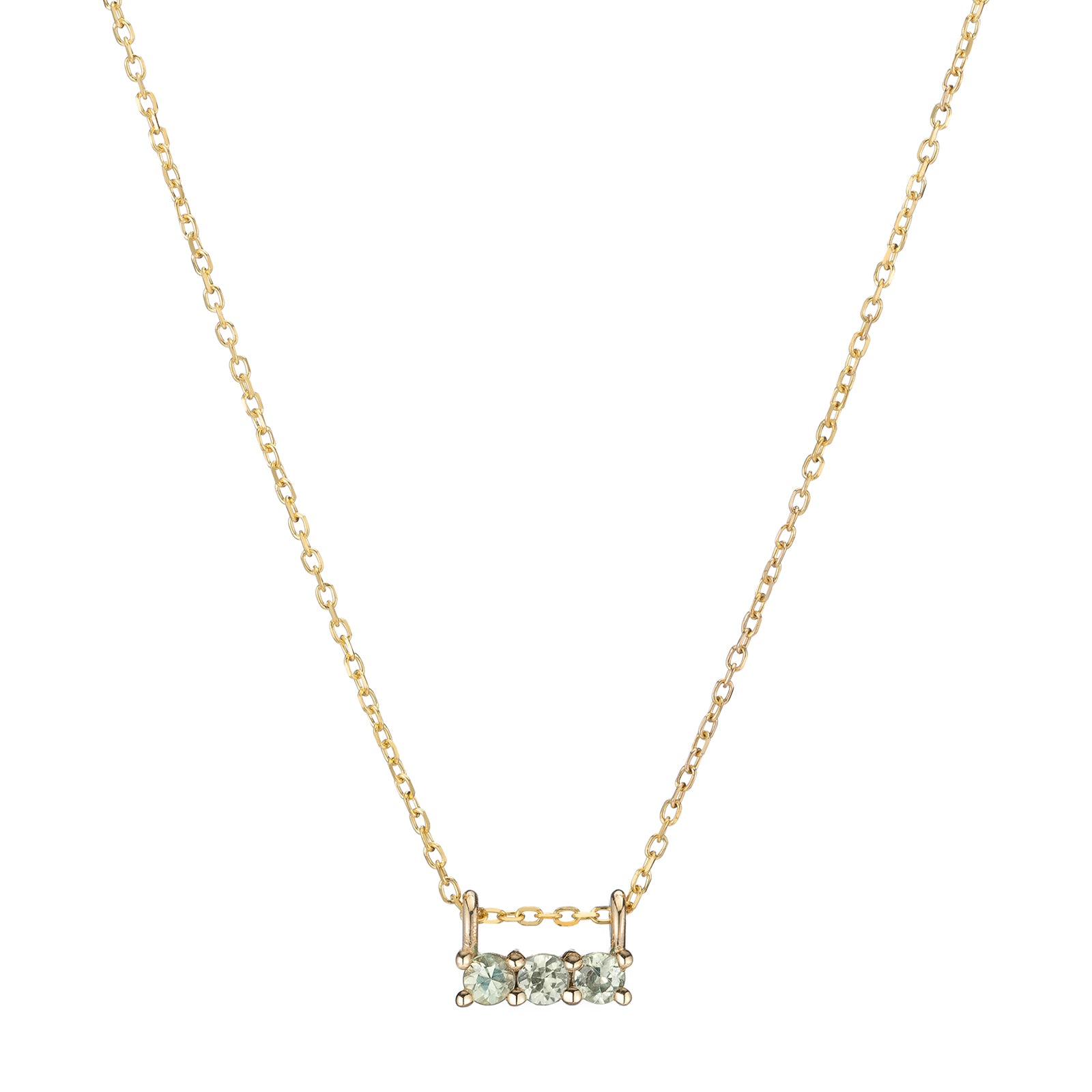 Jennie Kwon Three Stone Necklace - Green Sapphire - Necklaces - Broken English Jewelry
