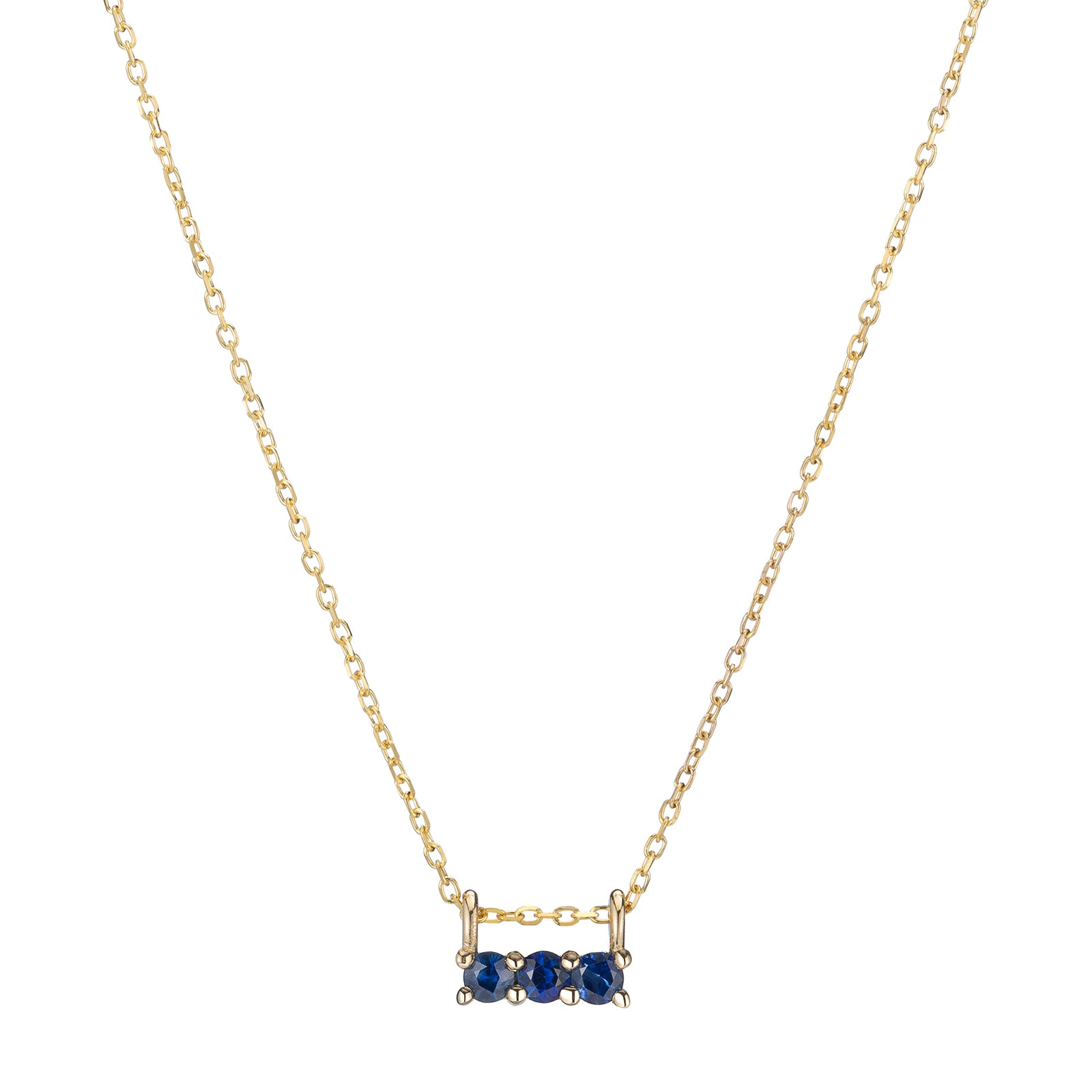 Jennie Kwon Three Stone Necklace - Sapphire - Necklaces - Broken English Jewelry
