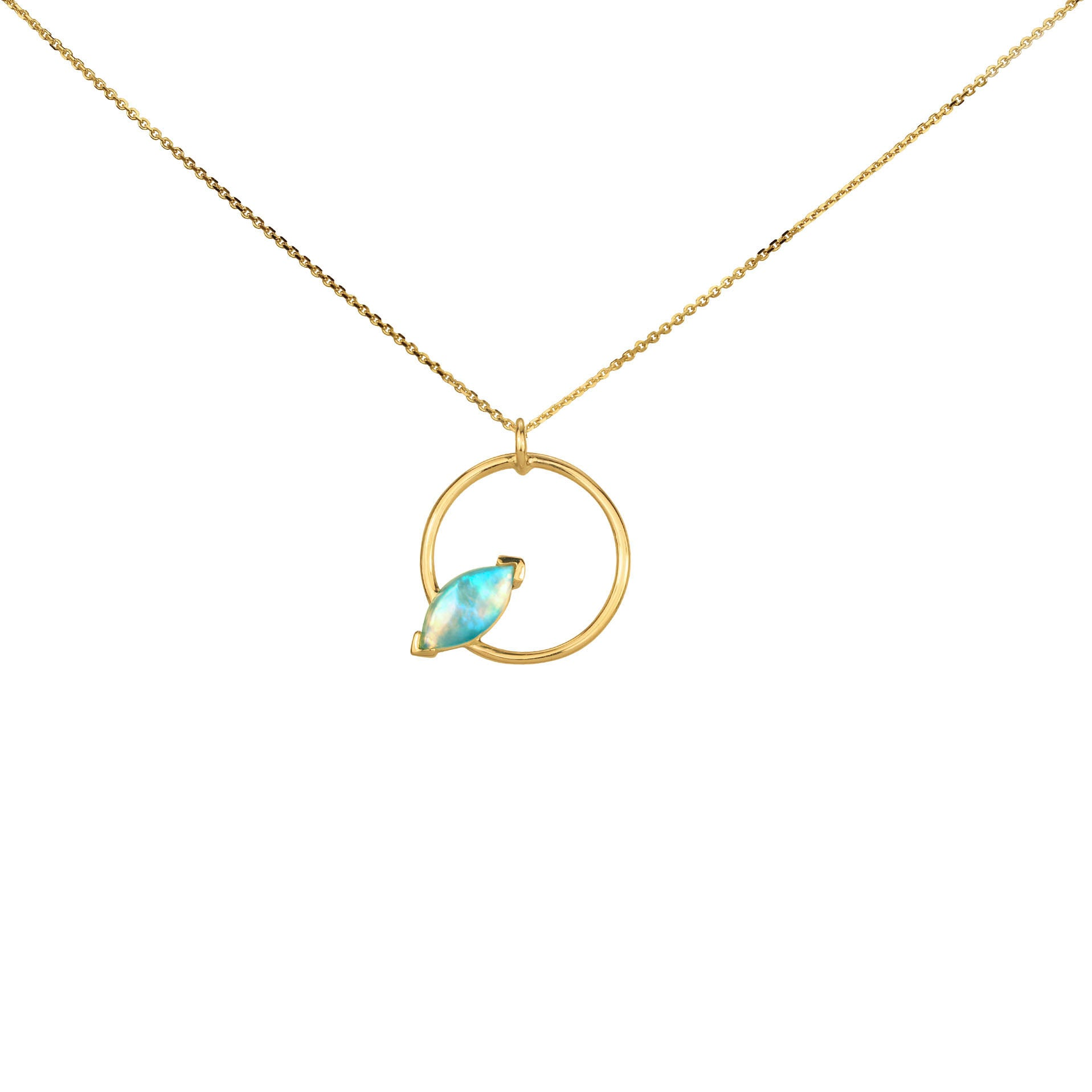 WWAKE Marquise Opal Circle Necklace - Necklaces - Broken English Jewelry