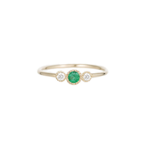 Diamond Emerald Trio Ring - Jennie Kwon - Rings | Broken English Jewelry