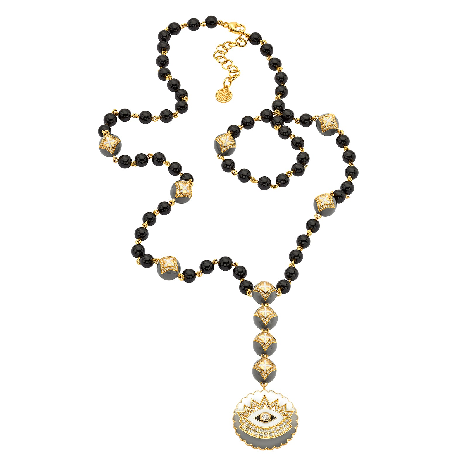 Buddha Mama Rosary Necklace - Black Onyx - Necklaces - Broken English Jewelry
