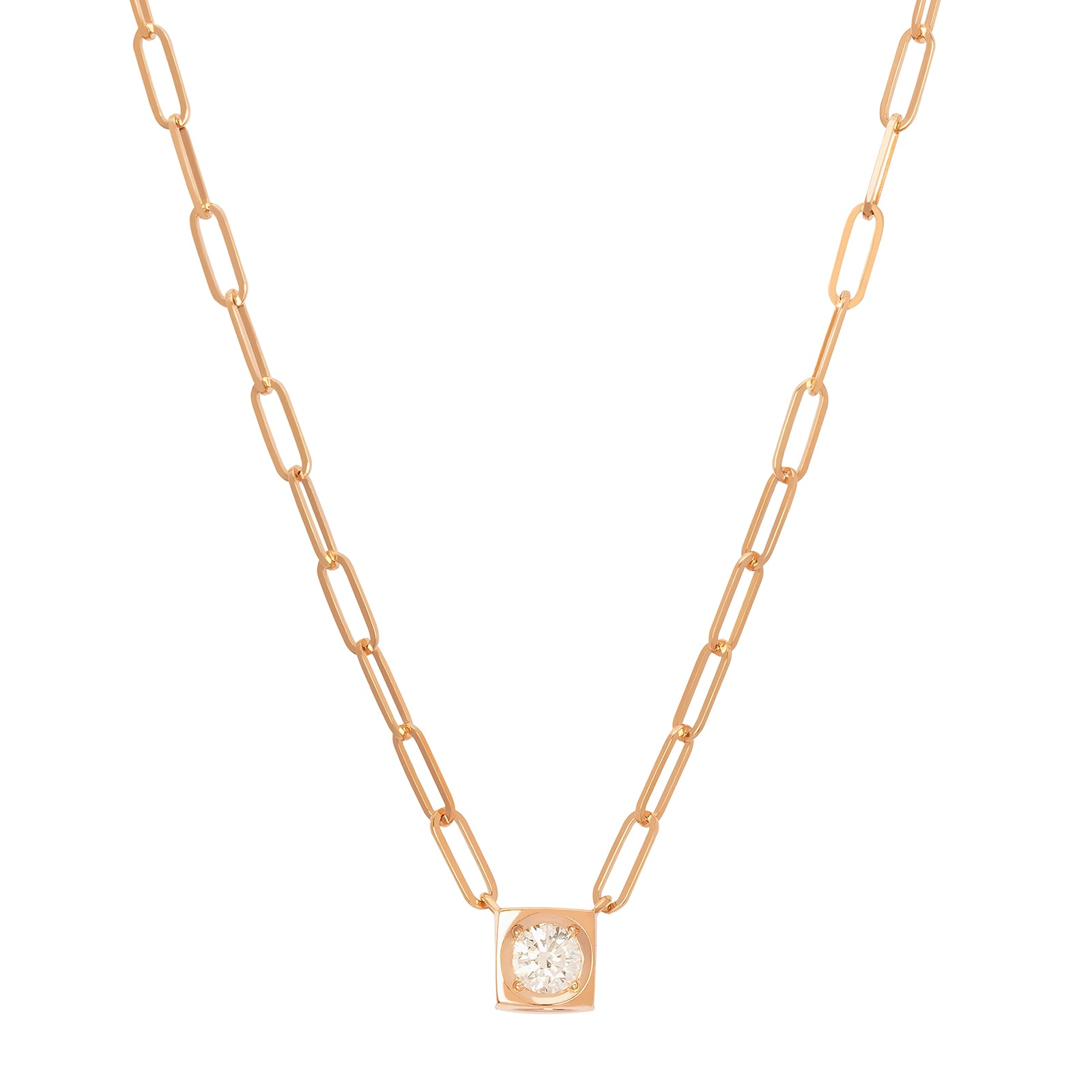 Dinh Van Le Cube Diamant Large Necklace - Rose Gold - Necklaces - Broken English Jewelry