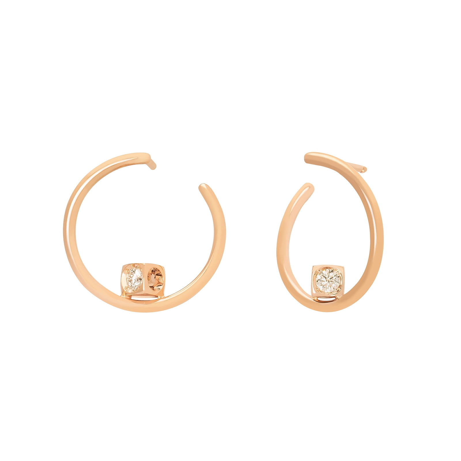 Dinh Van Le Cube Diamant Hoops - Rose Gold - Earrings - Broken English Jewelry