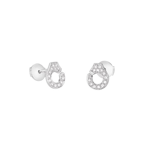 Menottes R7.5 White Gold Diamond Stud Earrings - Dinh Van - Earrings | Broken English Jewelry