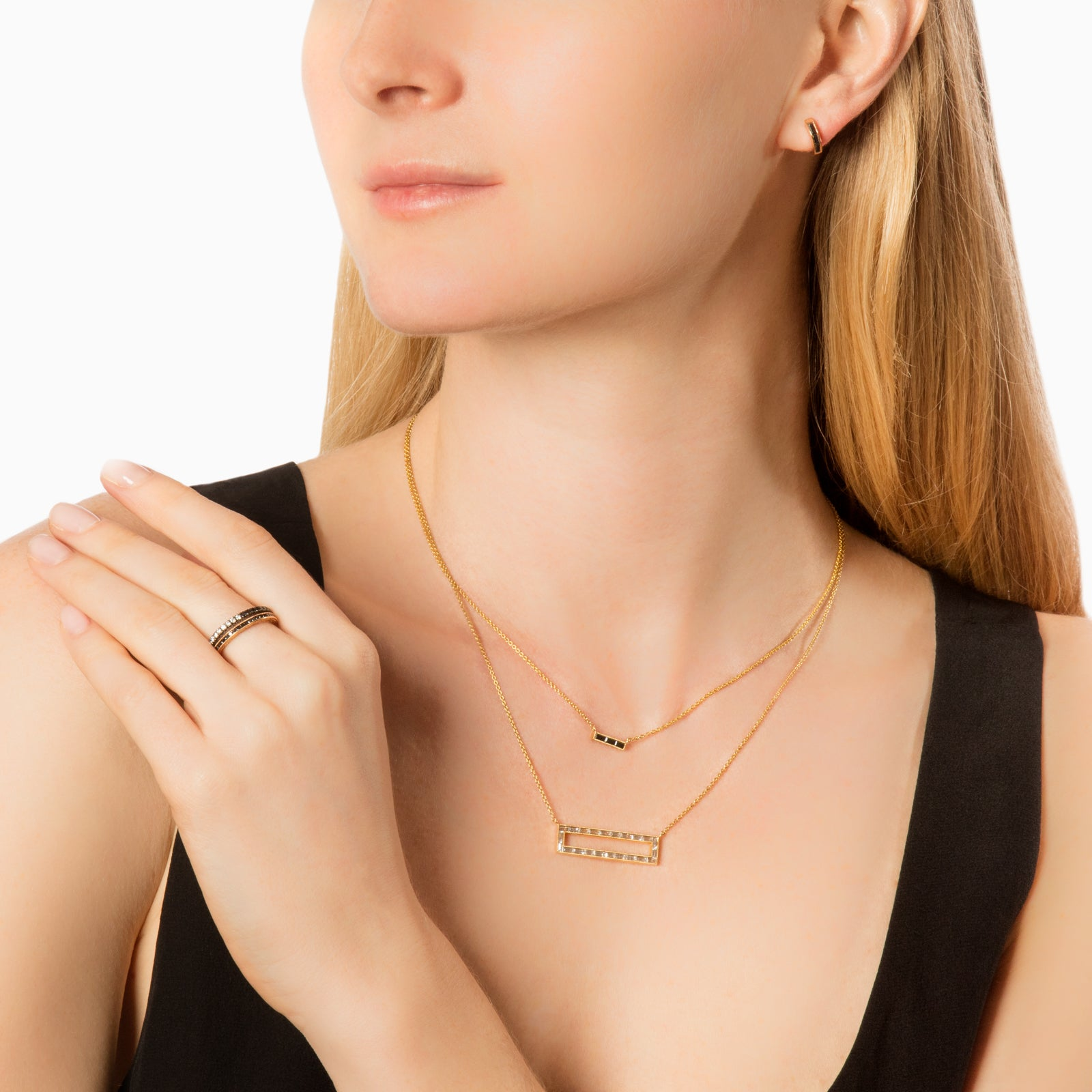 Sethi Couture Diamond Bar Necklace - Gold - Necklaces - Broken English Jewelry