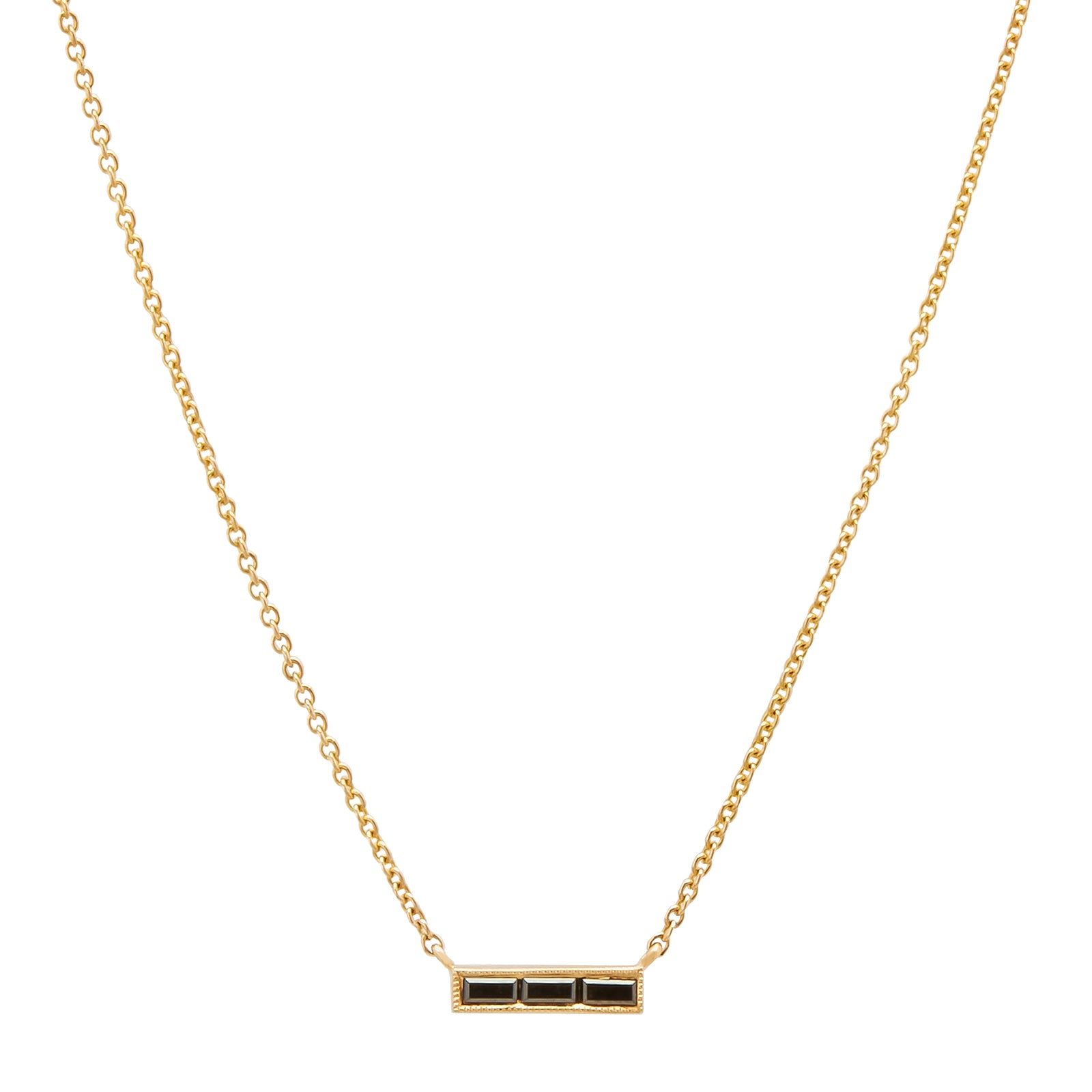 Sethi Couture Black Baguette Diamond Necklace - Gold - Necklaces - Broken English Jewelry