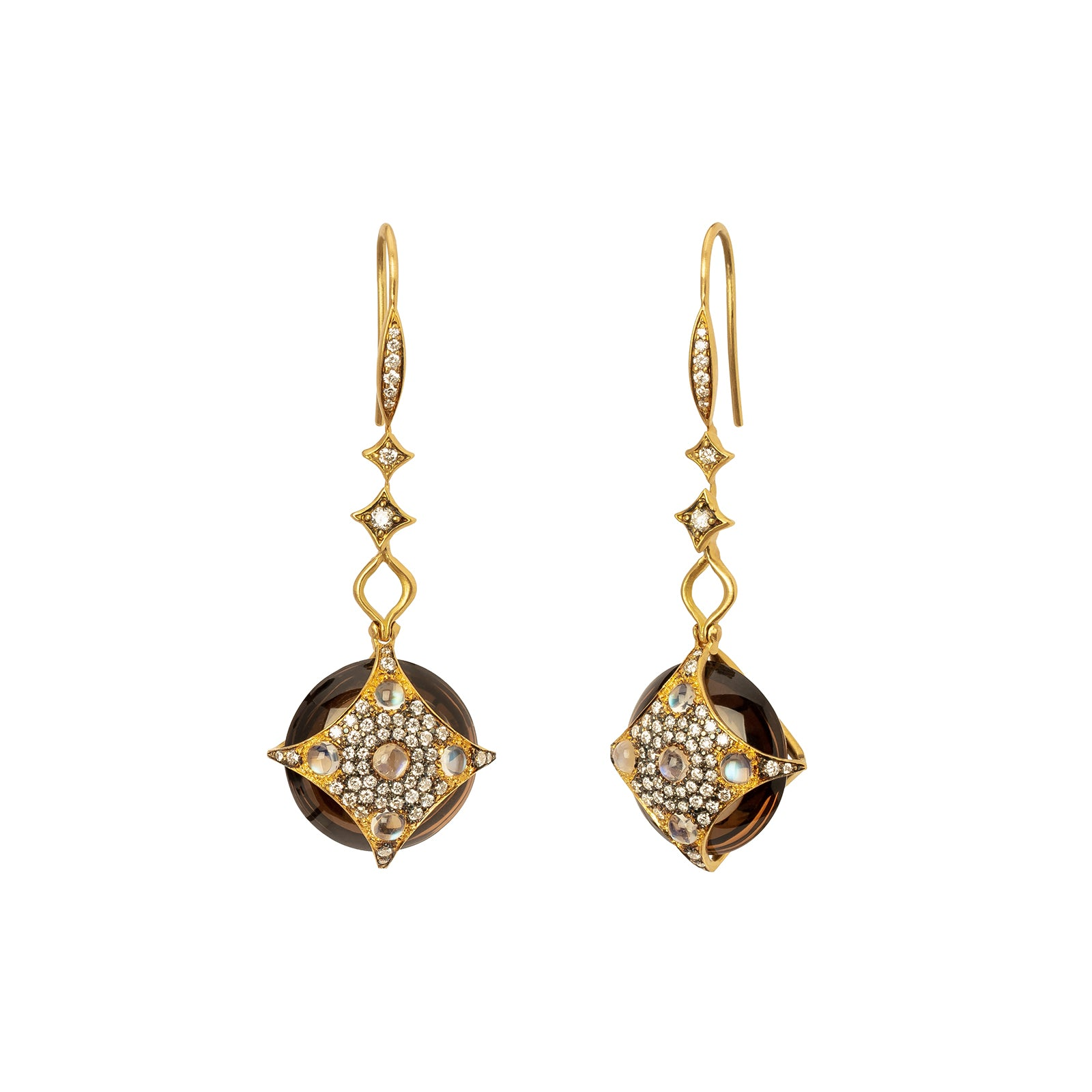 Anahita Medallion Smokey Quartz Earrings - Earrings - Broken English Jewelry