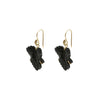 Gold & Onyx Fancy Leaf Earrings by Annette Ferdinandsen for Broken English Jewelry