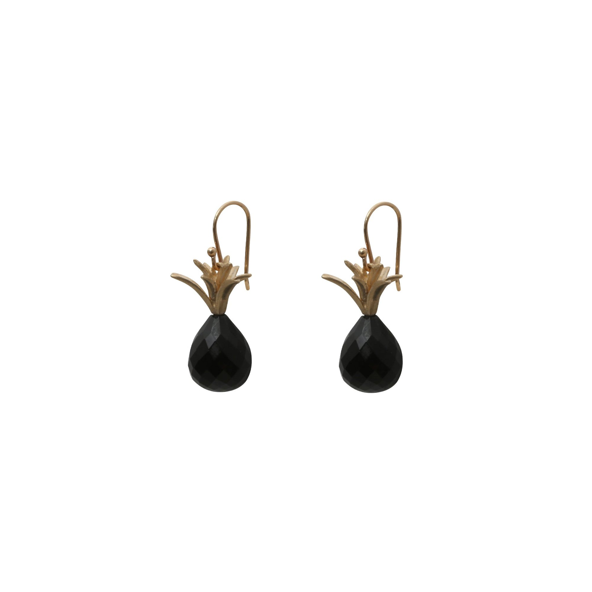 Gold & Onyx Pineapple Earrings by Annette Ferdinandsen for Broken English Jewelry