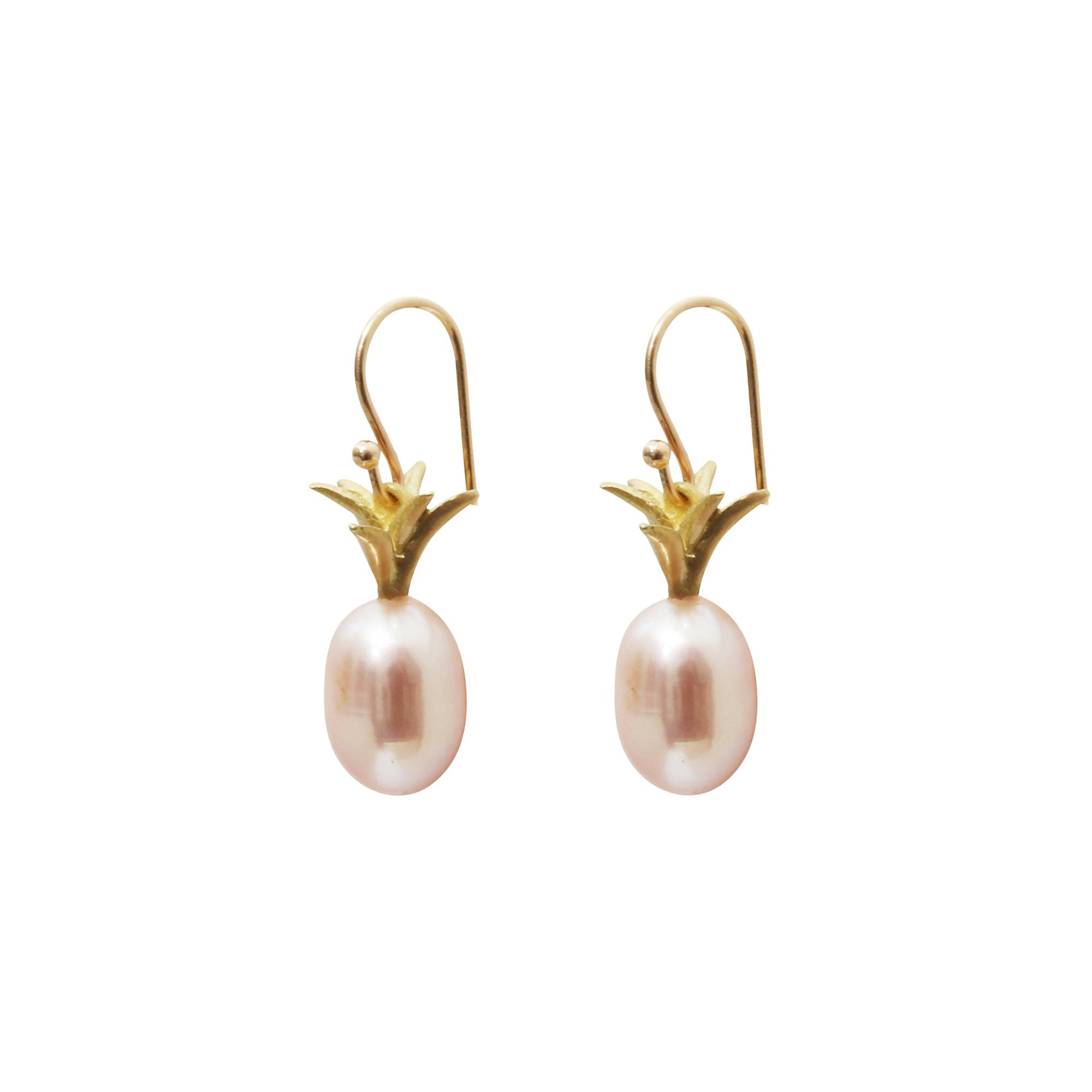 Gold & Pearl Pineapple Earrings by Annette Ferdinandsen for Broken English Jewelry