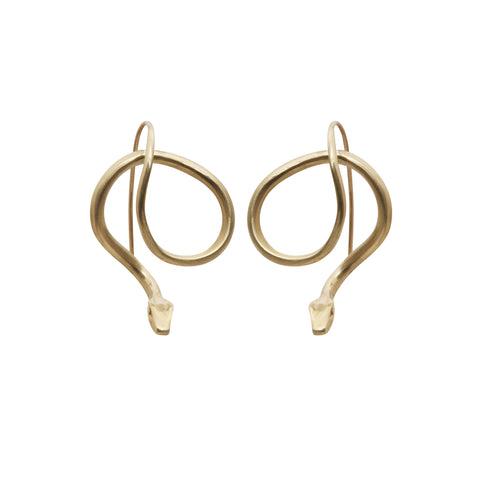 Gold & Black Diamond Forward Facing Serpent Earrings by Annette Ferdinandsen for Broken English Jewelry