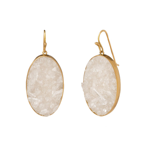 Crystal Drusy Daydream Cameo Earrings - Annette Ferdinansen - Earrings | Broken English Jewelry