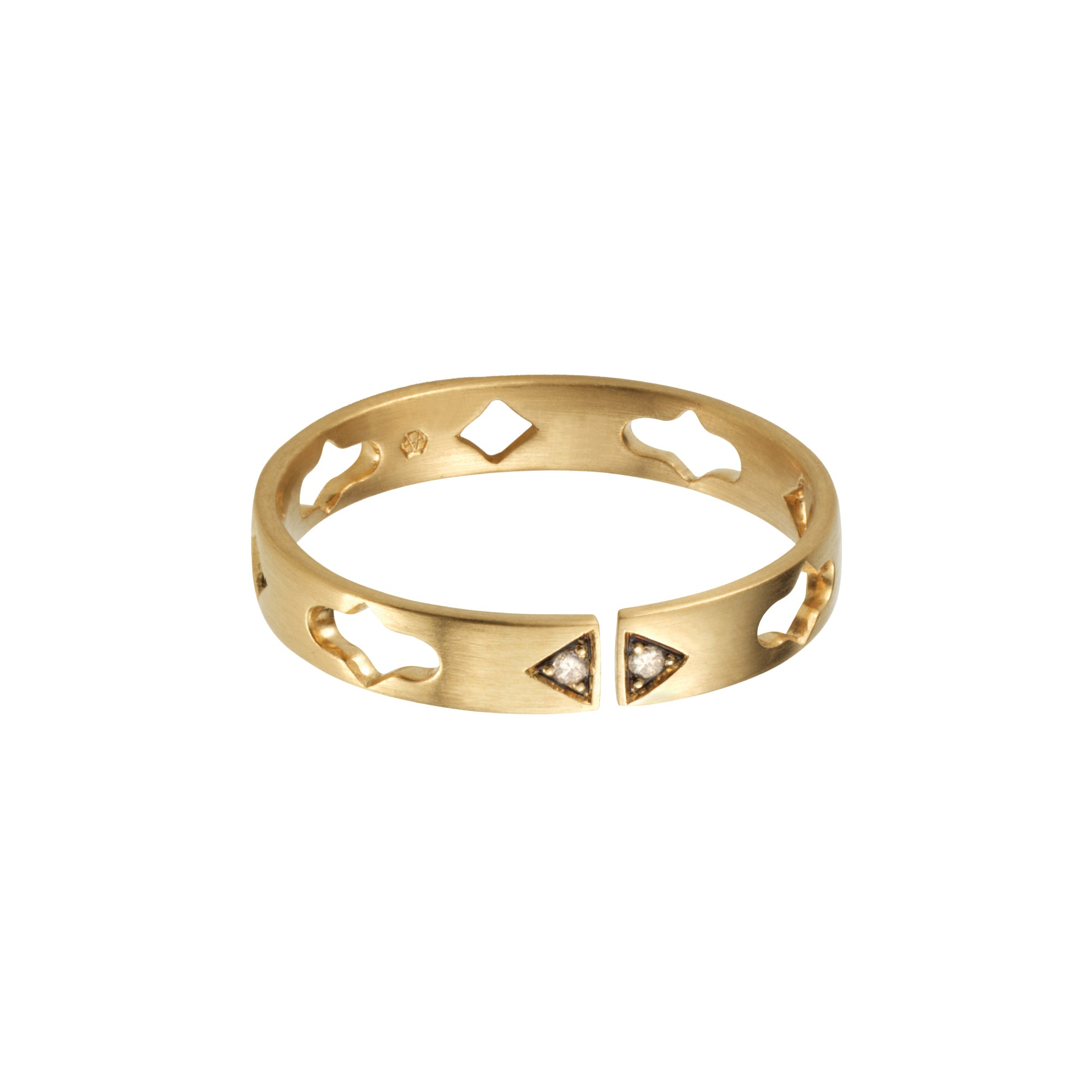gold cognac diamond Multi Motif Split Band by anahita for broken English jewelry