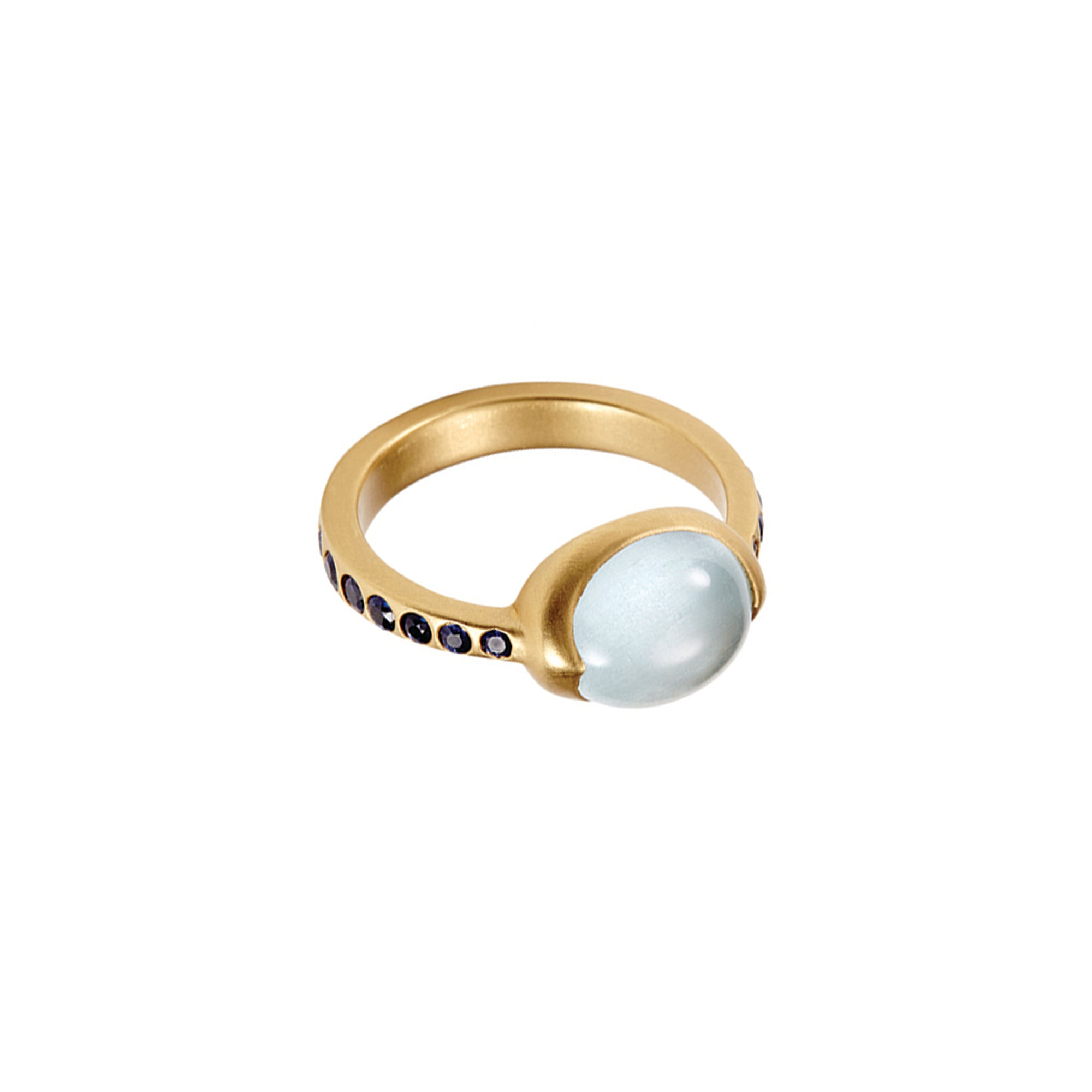 gold sapphire Aquamarine Pasha Ring by anahita for broken English jewelry