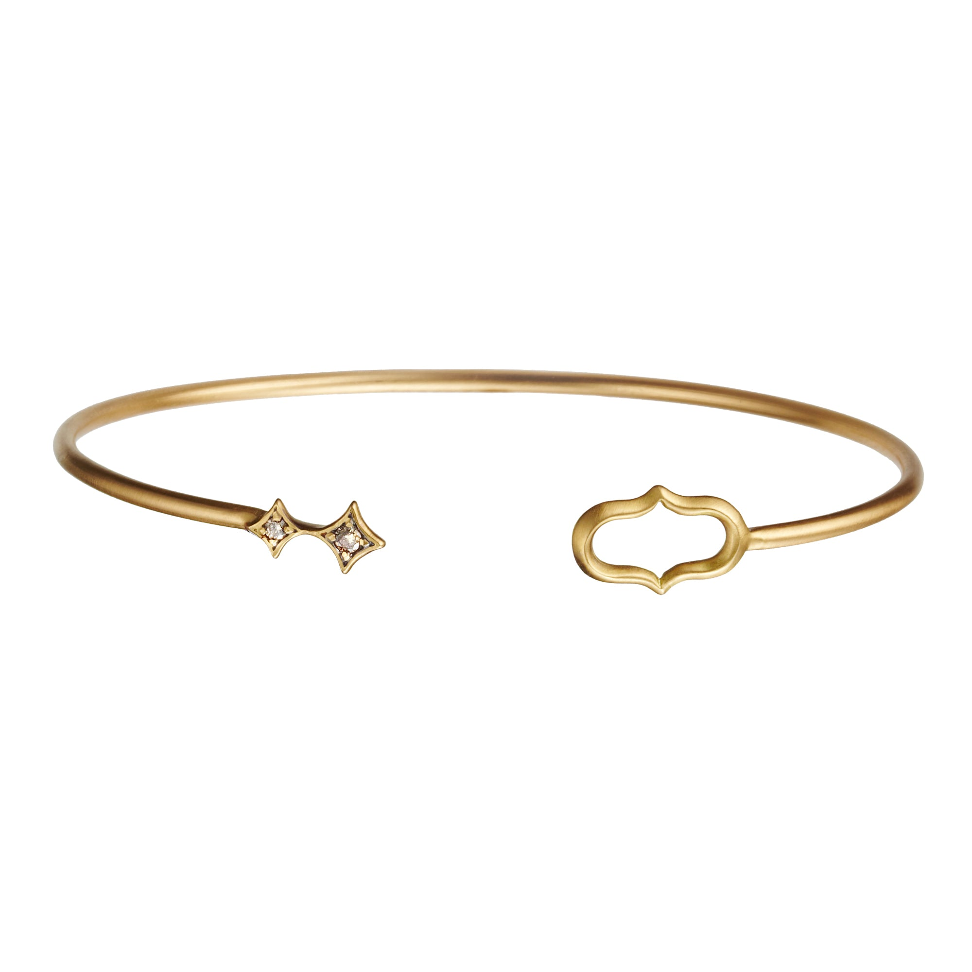 Gold Cognac Diamond Star and Jaws Motif Cuff by Anahita for Broken English Jewelry