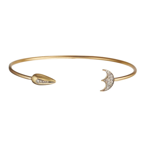 Gold White Diamond Spear and Moon Bracelet by Anahita for Broken English Jewelry
