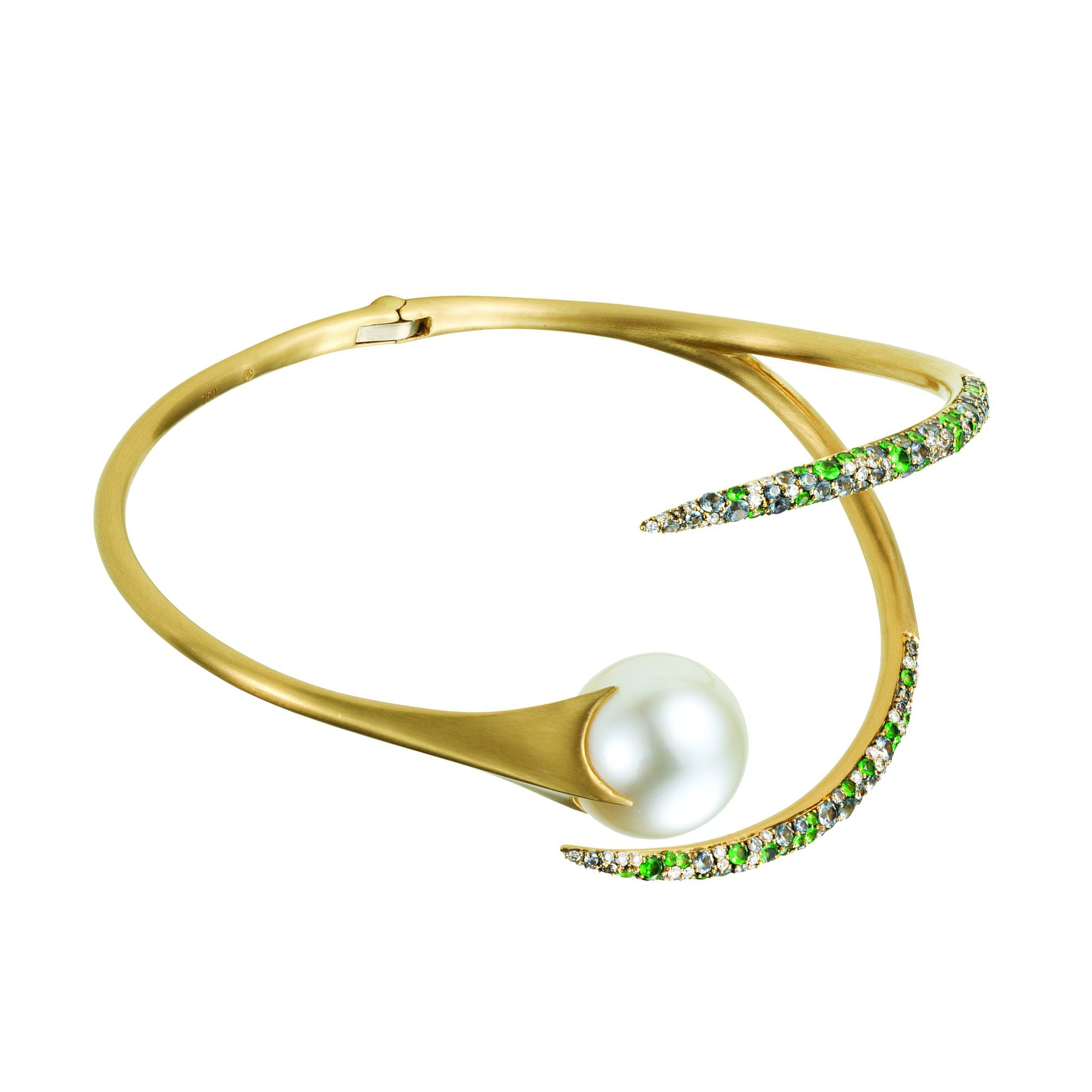 Gold Pearl Tsavorite Sapphire White Diamond Serpent Cuff by Anahita for Broken English Jewelry