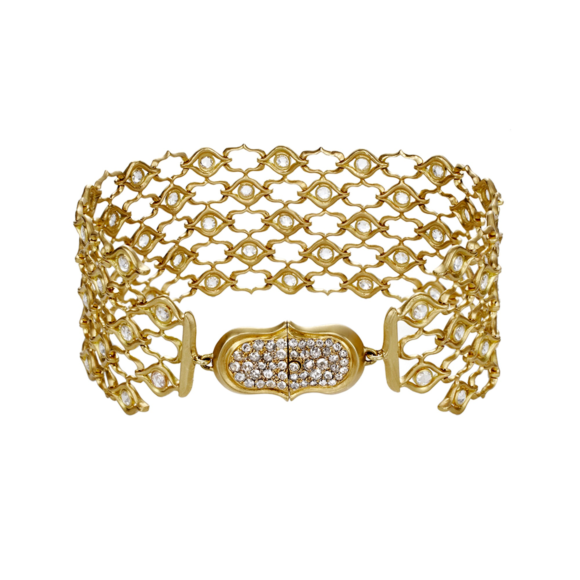 Gold & White Diamond Screen Pattern Chain Bracelet by Anahita for Broken English Jewelry