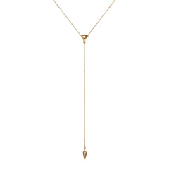 Gold White Diamond Pave Spear Lariat by Anahita for Broken English Jewelry