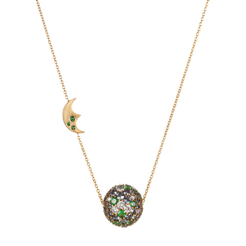 Gold Tsavorite Diamond Pave Ball Pendant by Anahita for Broken English Jewelry