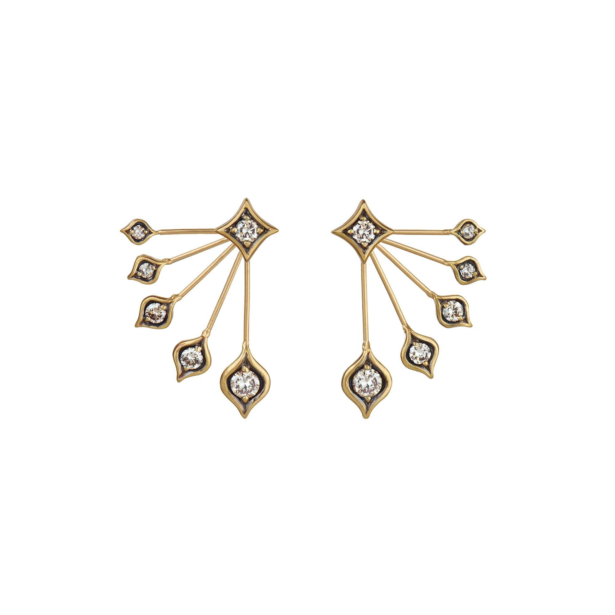 Gold White Diamond Peacock Stud Earrings by Anahita for Broken English Jewelry