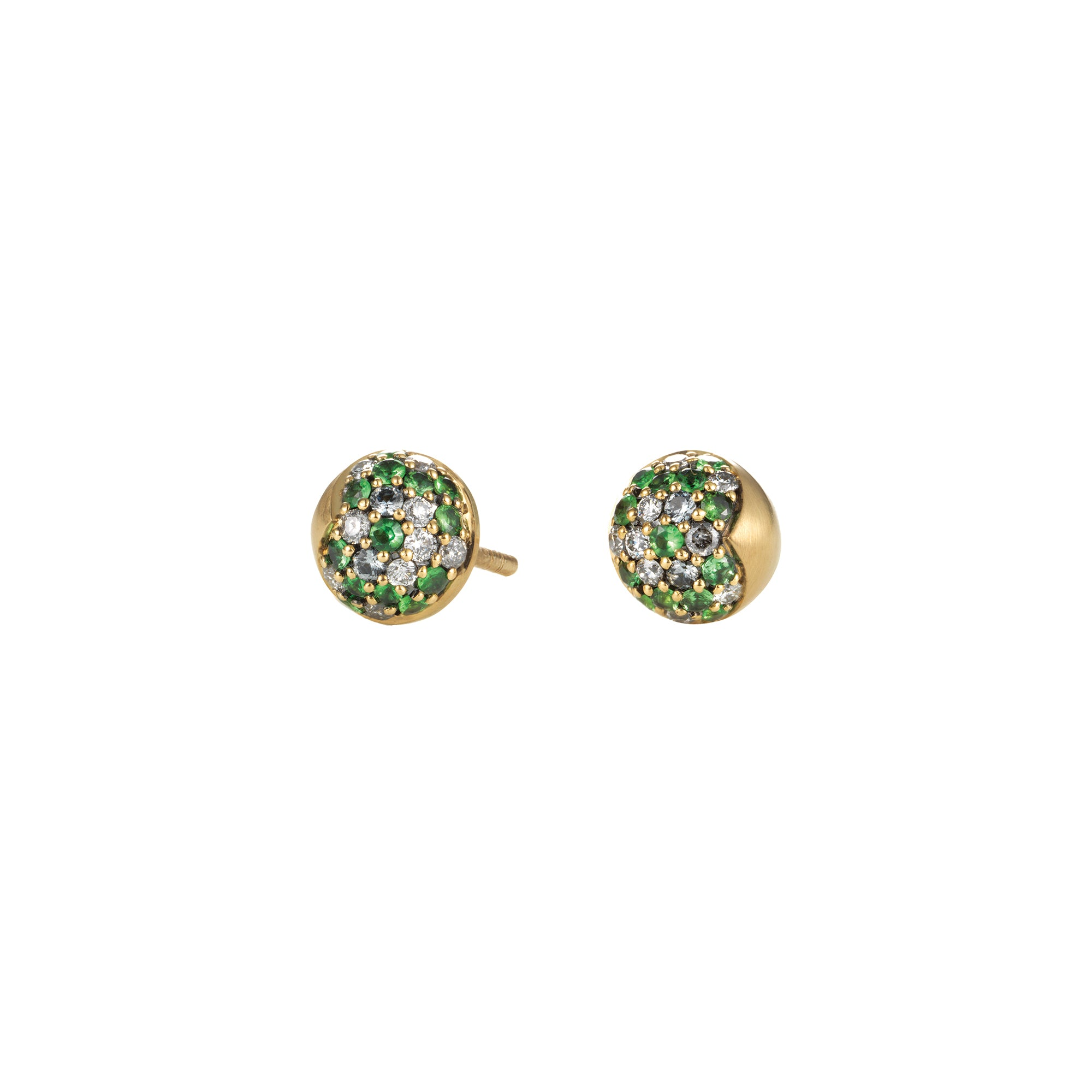 Gold Tsavorite Diamond Half Dome Pave Studs by Anahita for Broken English Jewelry