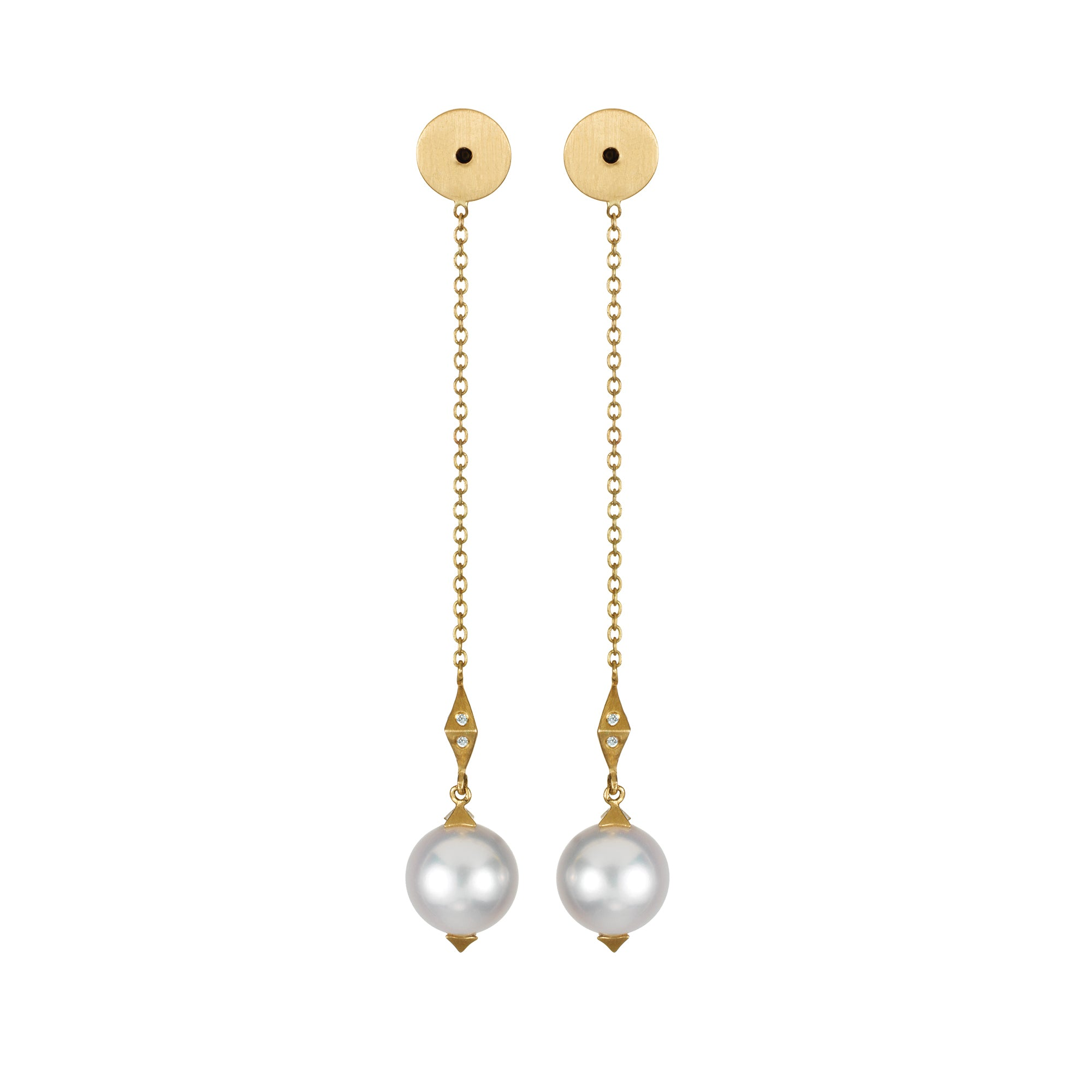 Gold White Diamond South Sea Pearl Earring Backings by Anahita for Broken English Jewelry