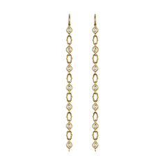 Gold White Diamond Screen Pattern Strand Earrings by Anahita for Broken English Jewelry