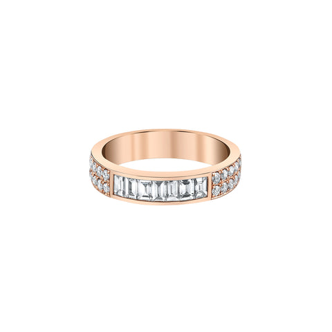 Gold & Baguette & Round Diamond Band by Anita Ko for Broken English Jewelry