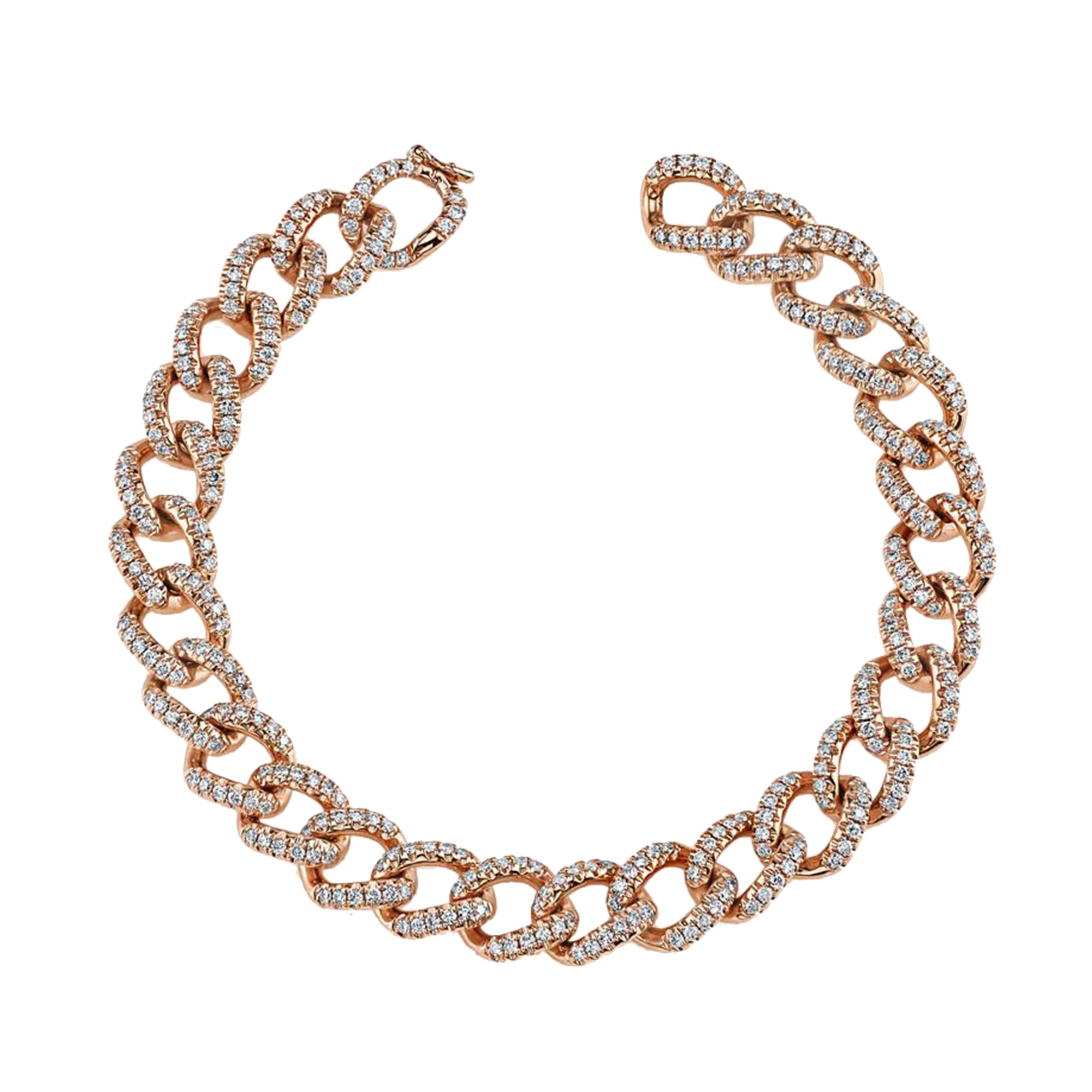 Gold & White Diamond Pave Link Bracelet by anita ko for Broken English Jewelry