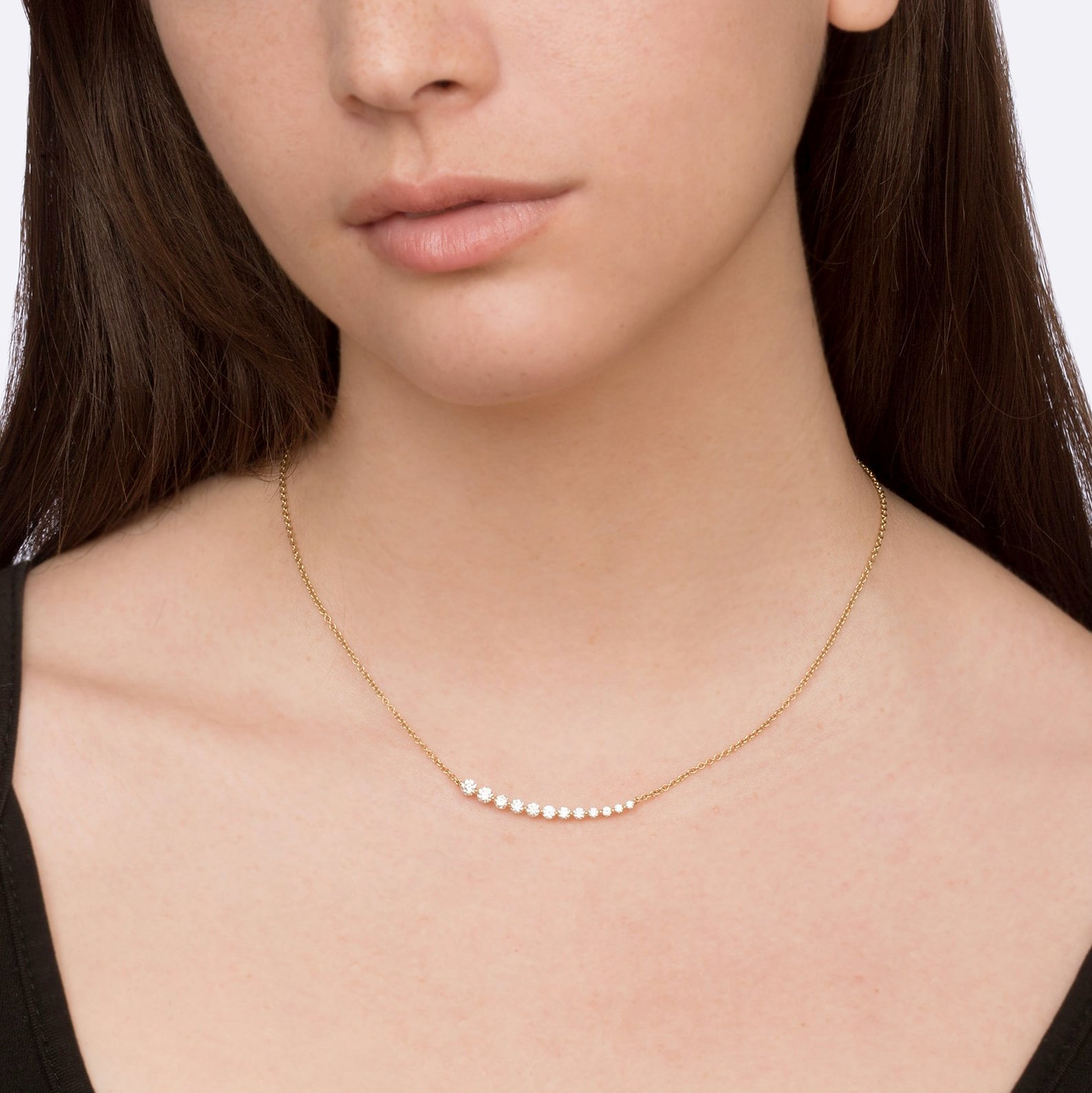 Gold Graduated Diamond Necklace by Anita Ko for Broken English Jewelry