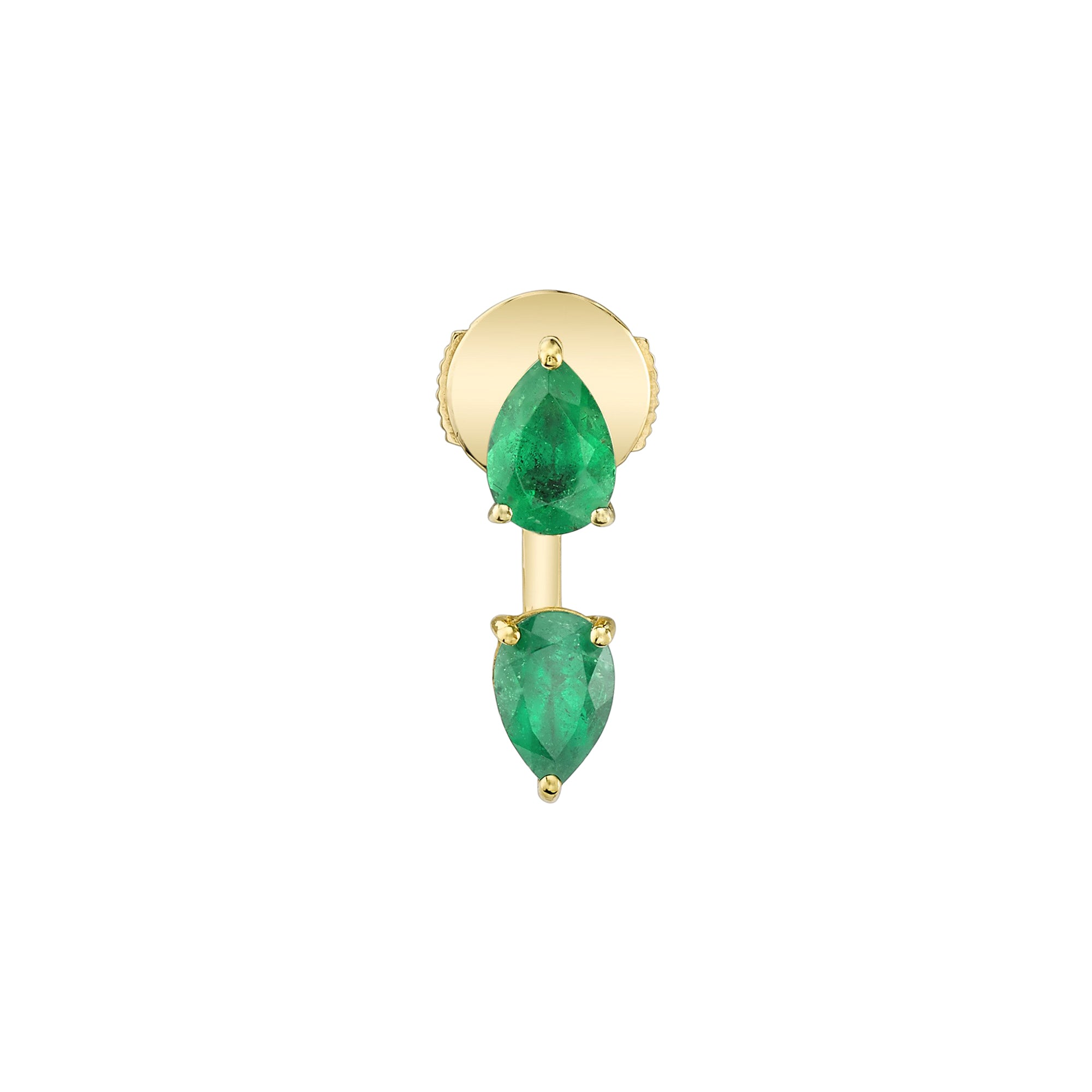 Gold & Emerald Pear Orbit Earring by Anita Ko for Broken English Jewelry