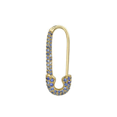 Gold & Sapphire Safety Pin Earring by Anita Ko for Broken English Jewelry