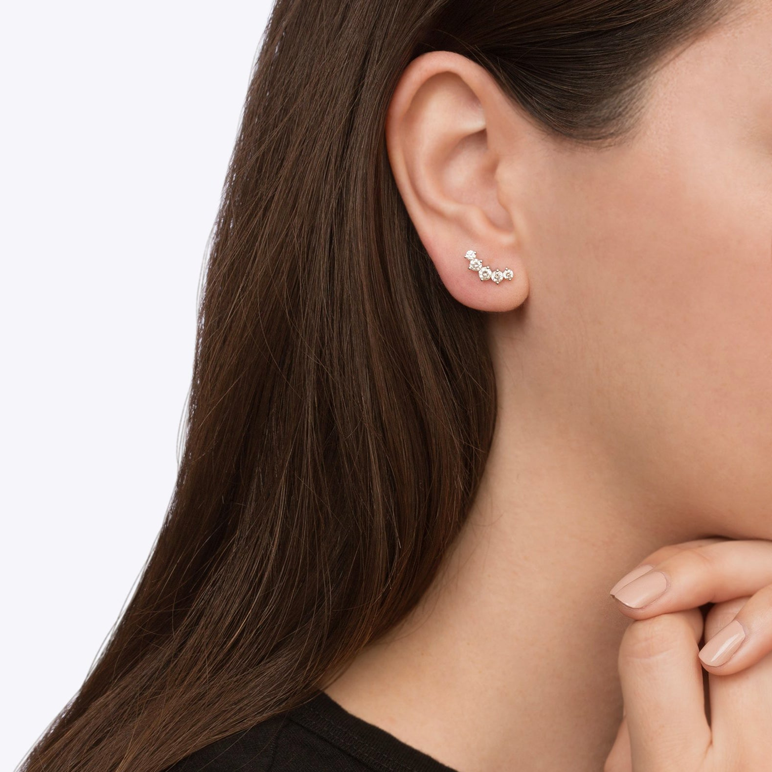 Gold & White Diamond Arc Studs by Anita Ko for Broken English Jewelry