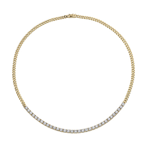 Plain Cuban Link and Long Diamond Line Necklace - Anita Ko - Necklaces | Broken English Jewelry
