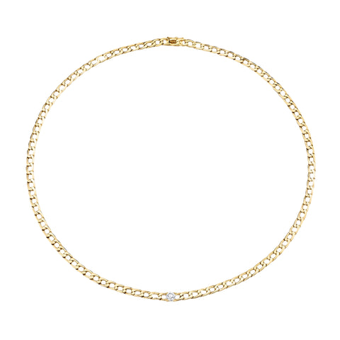 Plain Chain necklace with Round Diamond Center - Anita Ko - Necklaces | Broken English Jewelry