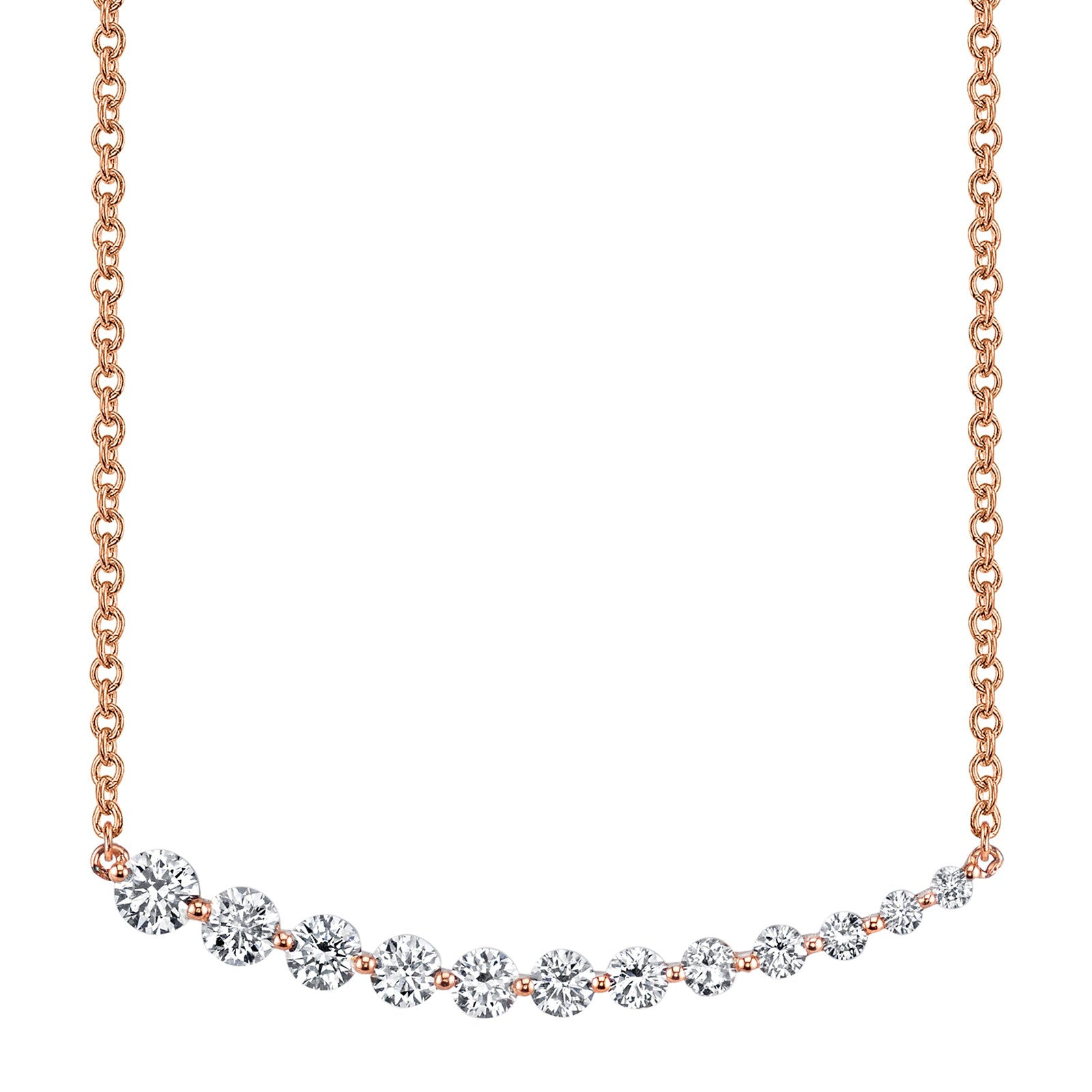 Anita Ko Graduated Diamond Necklace - Rose Gold - Necklaces - Broken English Jewelry