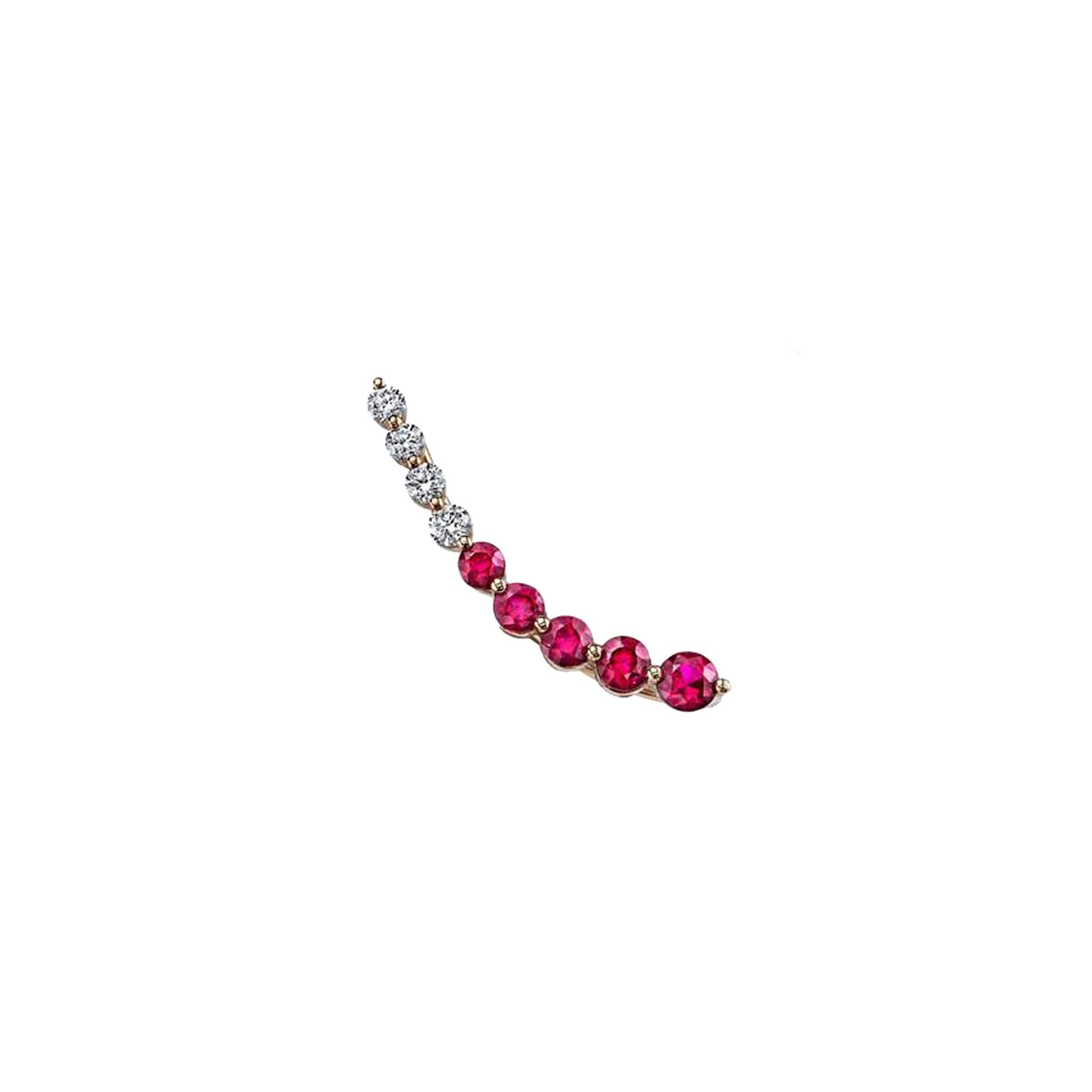 Floating Diamond & Ruby Earring - Right