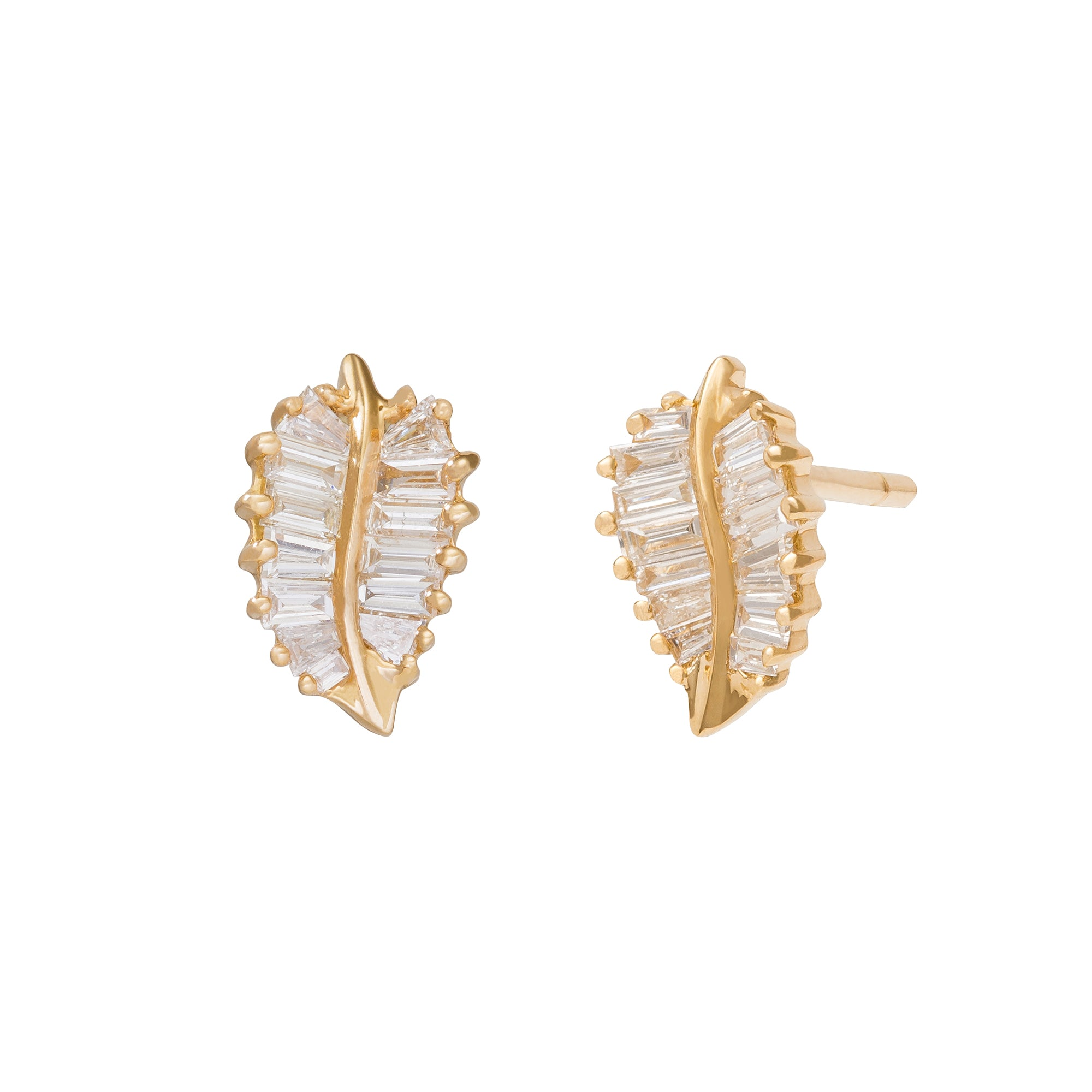 Small Palm Leaf Studs - Anita Ko - Earrings | Broken English Jewelry