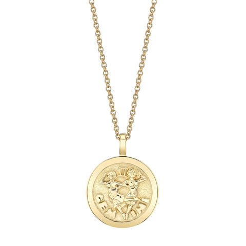 Plain Gemini Zodiac Coin Pendant - Anita Ko - Necklaces | Broken English Jewelry