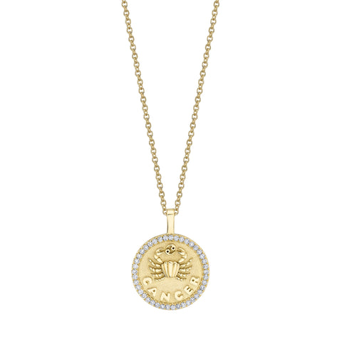 Cancer Zodiac Coin Pendant with Diamond Frame - Anita Ko - Necklaces | Broken English Jewelry