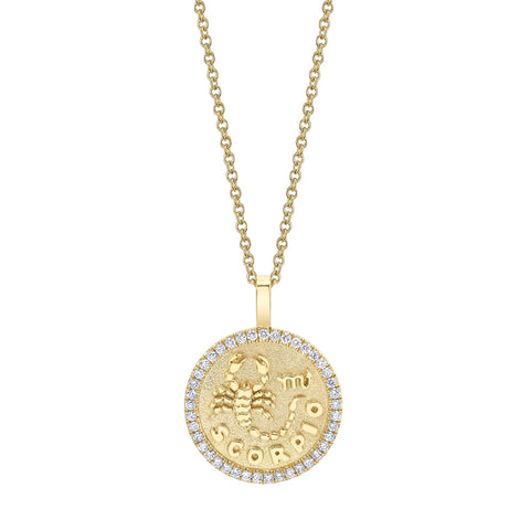 Scorpio Zodiac Coin Pendant with Diamond Frame - Anita Ko - Necklaces | Broken English Jewelry