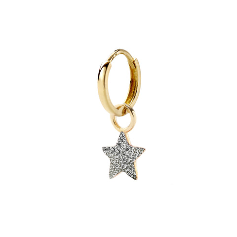 Silver Glitter Tiny Star Huggy - Alison Lou - Earrings | Broken English Jewelry
