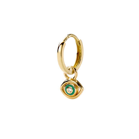 Green Evil Eye Huggy - Alison Lou - Earrings | Broken English Jewelry